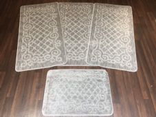 ROMANY WASHABLES NEW GYPSY SETS OF 4PCS SILVER-GREY MATS NON SLIP TOURER SIZES